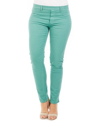 Green Stretch Skinny Pants - Plus