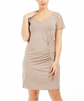 Taupe Lace Ricky Dress - Plus