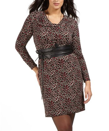 Rouge Leopard Belted Dress - Plus