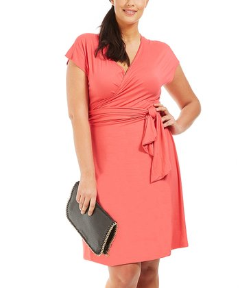 Coral Wrap Dress - Plus