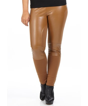 Camel Faux Leather Scuba Leggings - Plus