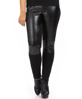 Noir Faux Leather Scuba Leggings - Plus