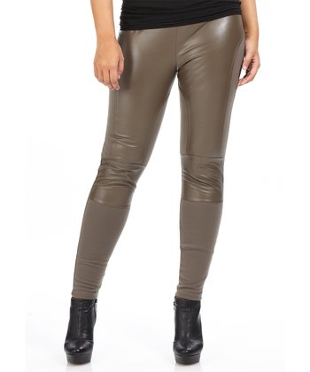 Taupe Faux Leather Scuba Leggings - Plus