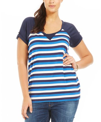 Blue Stripe Tiya Tee - Plus