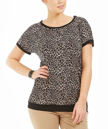 Brown Leopard Volcan Tee - Plus