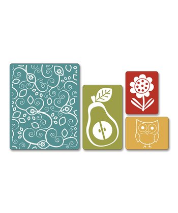 Flower, Owl & Pear Textured Impressions Embossing Set