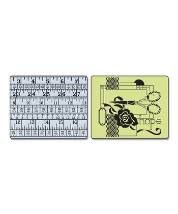 Sewing & Measuring Tape Textured Impressions Embossing Folder Set