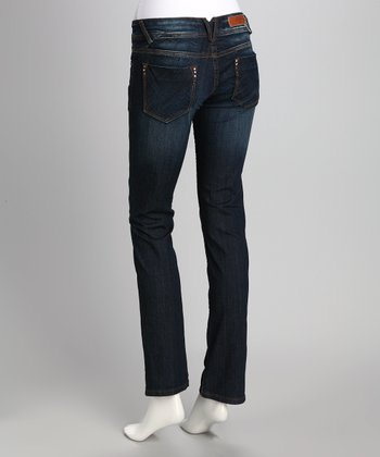 Dark Wash Rhinestone Pocket Straight-Leg Jeans