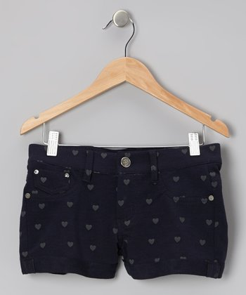 Navy Forget Me Not Heart Love Shorts - Girls