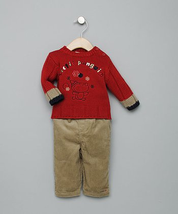 Red Penguin Sweater Outfit - Infant