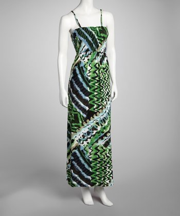 Green Shirred Top Maxi Dress