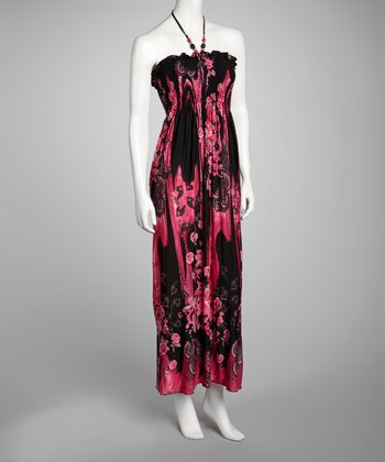 Fuchsia Floral Halter Maxi Dress