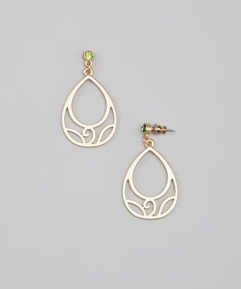 Green & Gold Swirl Teardrop Earrings