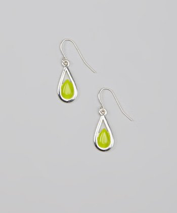Green & Silver Teardrop Earrings