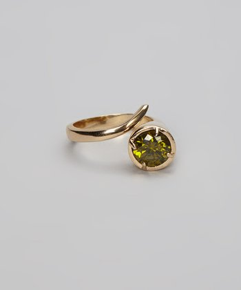 Olive Green Sparkle & Gold Ring