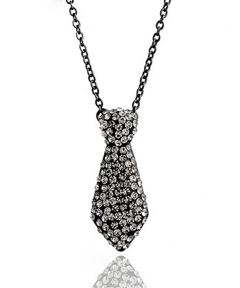 Black Crystal Tie Necklace