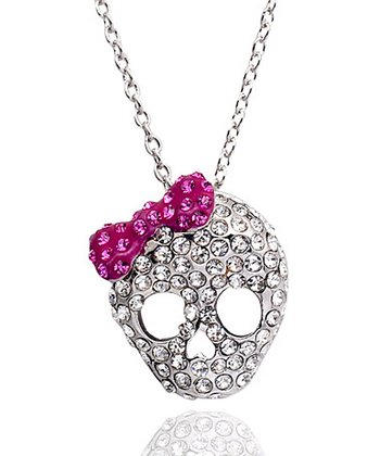 Clear Crystal Bow Skull Necklace