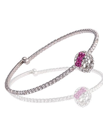 Clear Crystal Bow Skull Flexi Bangle