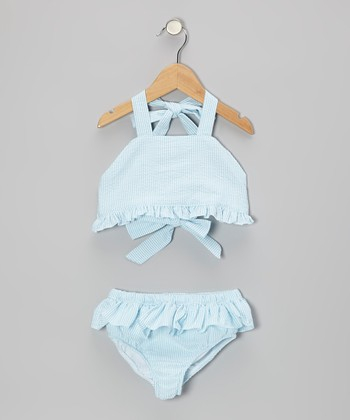 Blue Seersucker Ruffle Bikini - Toddler & Girls