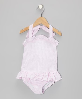 Pink Seersucker Skirted One-Piece - Toddler & Girls