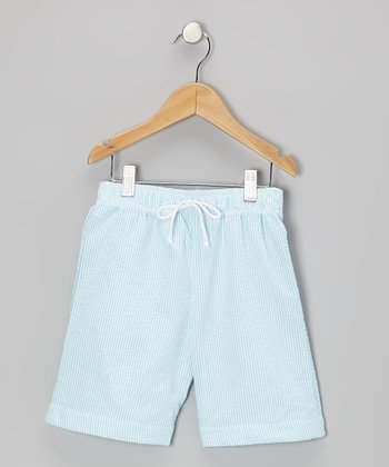 Blue Seersucker Swim Trunks - Boys