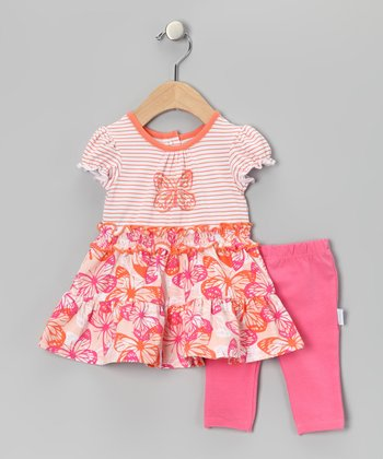 Pink Butterfly Ruffle Dress & Leggings - Toddler