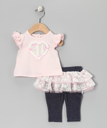 Pink Patchwork Heart Angel-Sleeve Top & Skirted Leggings - Infant