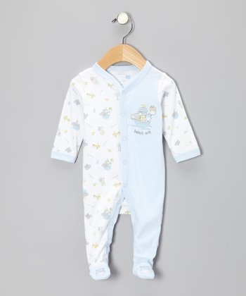 White & Blue 'Baby's Ark' Footie - Infant