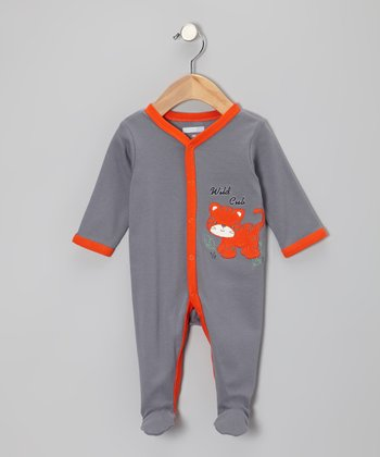 Charcoal & Orange 'Wild Cub' Footie - Infant