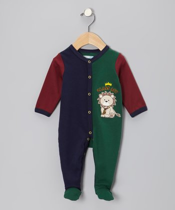 Green & Blue 'Class Act' Lion Footie - Infant