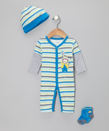 Gray Space Monkey Playsuit Set - Infant
