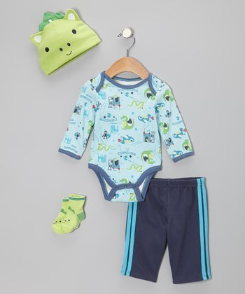 Turquoise Dragons Rule Bodysuit Set - Infant