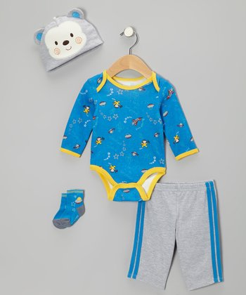 Blue Space Cowboy Bodysuit Set - Infant