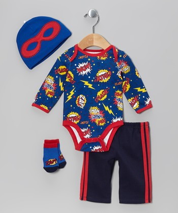 Royal Blue 'Pow! Wham! Wow!' Bodysuit Set - Infant