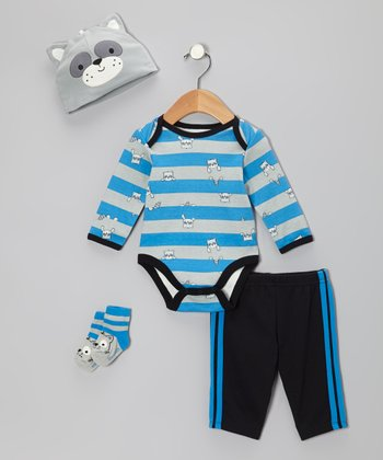 Blue Raccoon Adventure Bodysuit Set - Infant