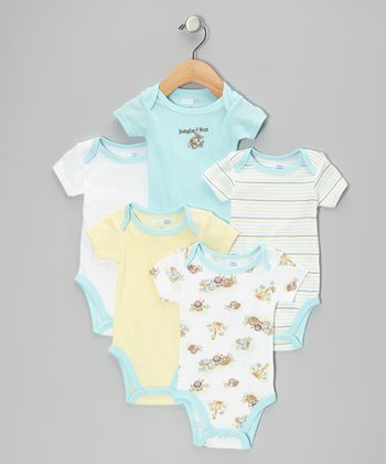 Powder Blue Jungle Fun Bodysuit Set