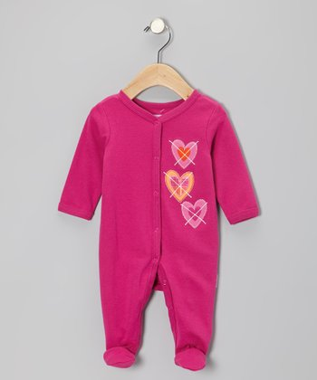 Fuchsia Hearts Footie - Infant
