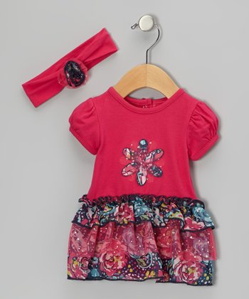 Raspberry Butterfly Skirted Bodysuit & Headband - Infant