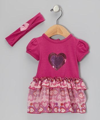 Fuchsia Heart Skirted Bodysuit & Headband - Infant