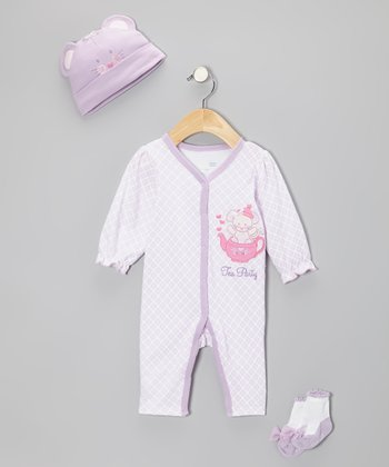 Lilac 'Tea Party' Playsuit Set - Infant