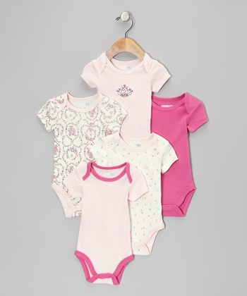Pink Princess Floral Bodysuit Set - Infant