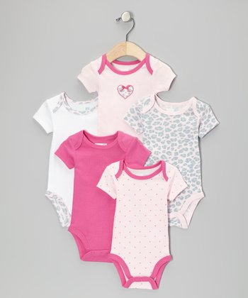 Pink Hearts & Leopard Bodysuit Set - Infant
