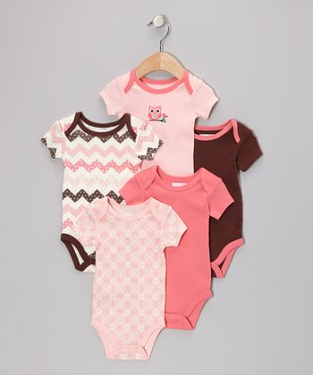 Pink Owl Bodysuit Set - Infant