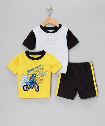 Yellow 'Speedster' Tee Set - Infant