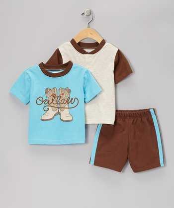 Turquoise 'Outlaw' Tee Set - Infant & Toddler
