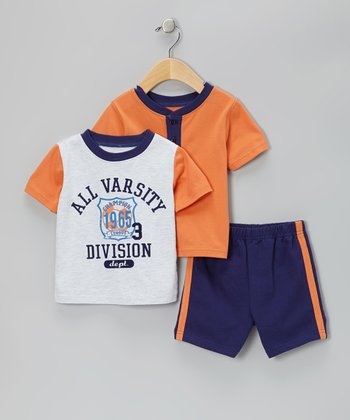 Orange Varsity Tee Set - Infant