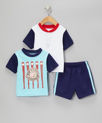 Turquoise Baseball Tee Set - Infant