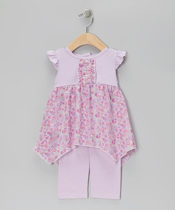 Lavender Floral Tunic & Capri Leggings - Infant