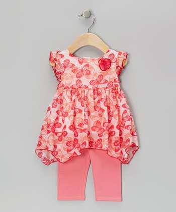 Pink Butterfly Tunic & Capri Leggings - Infant