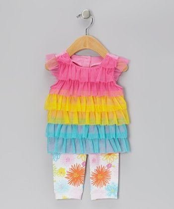 Pink & Yellow Ruffle Tunic & Capri Leggings - Infant